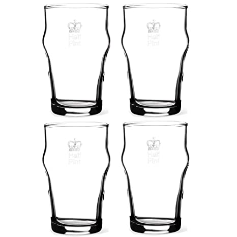c800479ef29 Image Unavailable. Image not available for. Color  KegWorks Authentic British  Imperial Half Pint Nonic Beer Glass with Etched Crown Seal ...