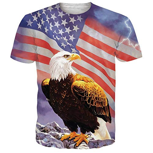 NEWISTAR Unisex American Flag Haliaeetus leucocephalus and Stars Print Personalized Graphic Short Sleeve T ()