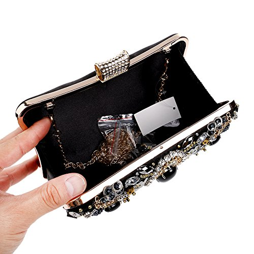 Womens with Chain Bags Handbags Clutch Flada for Rhinestones Crystal Evening xwq74I46a