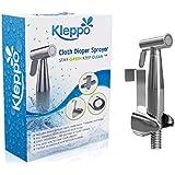 SUPER SALE Kleppo 5☆ Cloth Diaper Toilet Sprayer Kit - Premium Brass Chrome Hand Held Bidet Shattaf, Metal Hose, T-Valve (7/8 inch), and Mounting Clip Attachment Adapter