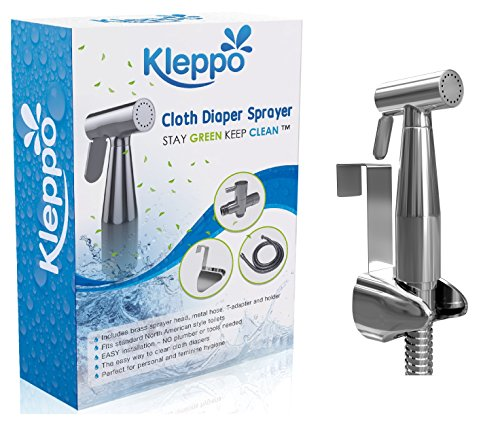SUPER SALE Kleppo 5☆ Cloth Diaper Toilet Sprayer Kit - Premium Brass Chrome Hand Held Bidet Shattaf, Metal Hose, T-Valve (7/8 inch), and Mounting Clip Attachment Adapter
