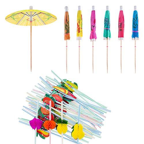 Blulu 100 Pieces Cocktail Decoration Party Set Including 50 Pieces Multiple Colors Mini Umbrellas Picks and 50 Pieces Mixed Color 3D Fruit Straws