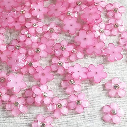(Dandan DIY 80pcs 10mm(0.4'') Mini Pink Resin Flowers with Shiny Rhinestone Flatback Resin Buttons Flatback Resin Craft Flowers Phonecover Cards Craft Scrapbooking (Pink))