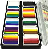 Face Paint Palette Rainbow Split Cakes for One Stroke technique with 12 Popular Professional Color Blocks from Kryvaline Face and Body Art Designed for Children and Face Painting Beginners