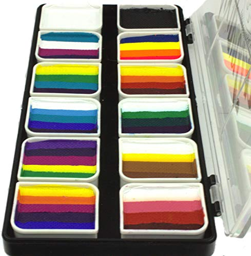Face Paint Palette Rainbow Split Cakes for One Stroke technique with 12 Popular Professional Color Blocks from Kryvaline Face and Body Art Designed for Children and Face Painting Beginners]()
