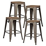 24 Inch Bar Stools Pioneer Square Alessio 24-Inch Counter-Height Metal Stool with Bronze Finish and Elmwood Seat, Set of 4