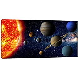 LightFairy Wall Art Framed Canvas Decoration, Design for Home Decor, Glow in The Dark Painting for Living Room - Solar System (46 x 24 Inch)