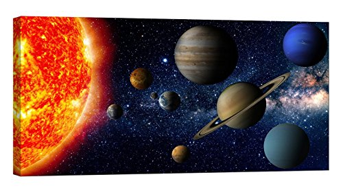 LightFairy Glow in The Dark Canvas Painting - Stretched and Framed Giclee Wall Art Print - Space Outerspace Solar System - Master Bedroom Living Room Large Décor - 46 x 24 inch