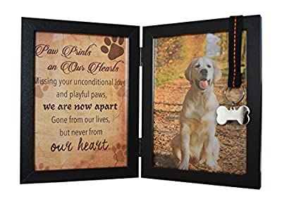 "Pawprints Remembered Pet Memorial 5""x7"" Picture Frame For Dog or Cat With Ribbon and Tag - Features a Folding Photo Frame and Sympathy Poem - Loss of Pet Gift by Pawprints Remembered"
