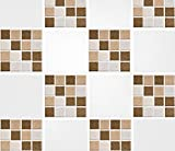 Pack of 10 4'' x 4'' Brown Mosaic Tile Transfer Stickers Bathroom Kitchen DIY Home Improvements