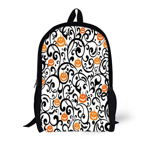 Pinbeam Backpack Travel Daypack Orange Pattern Halloween Black Bat Swirl Vintage Fantasy Waterproof School -