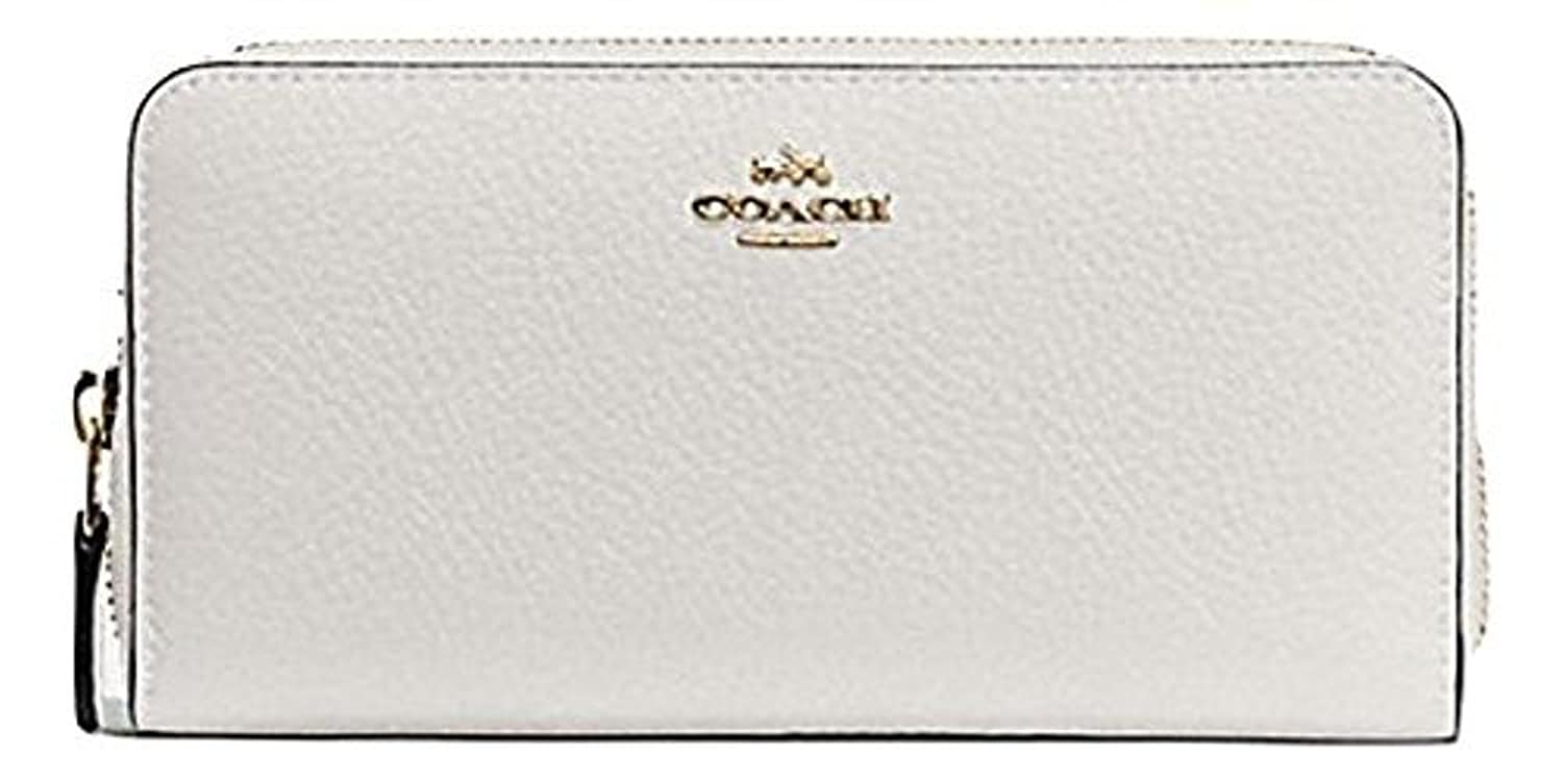 ACCORDION ZIP WALLET IN PEBBLE LEATHER COACH F57215 IMITATION GOLD/CHALK
