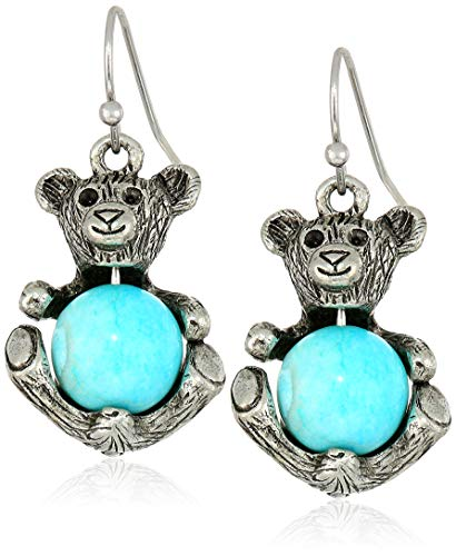 1928 Jewelry Women's Pewter Round Semi Precious Turquoise Dyed Howlite Teddy Bear Wire Earrings, Blue, One Size