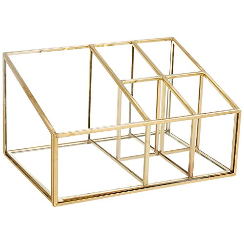 (PuTwo Makeup Organizer Vintage 5 Compartments Glass & Metal Cosmetic Organizer Brass Makeup Storage for Makeup Brushes Perfume Lipsticks Nail Polish Makeup Holder for Dresser Vanity Countertop - Gold)