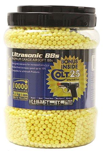 Ultrasonidos de 10,000 BB con pistola de airsoft Bonus Colt 25