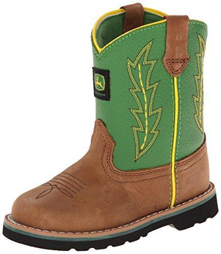 John Deere 1186 Western Boot (Toddler),Tan/Green,7 M US Toddler