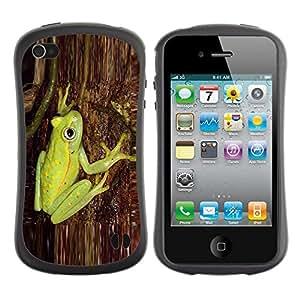 "Pulsar iFace Series Tpu silicona Carcasa Funda Case para Apple iPhone 4 / iPhone 4S , Verde corteza de árbol natural de la Selva"""
