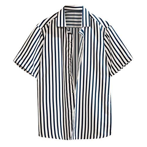 JJLIKER Men's Fashion Short Sleeve Button Down Shirt Casual Vertical Striped Dress Shirt Regular Fit Tees Tops M-4XL Black ()