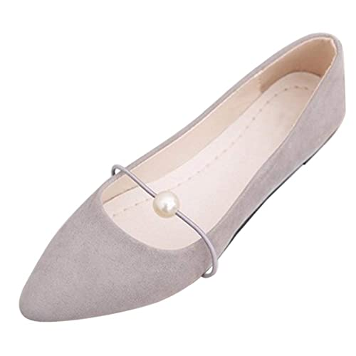 Daytwork Zapatos Mujer Punta Puntiaguda - Ballerinas Ante Perla Mocasines Tacón Bajo Elegante Primavera Verano Moda Plana Fiesta Zapatos de Baile: ...