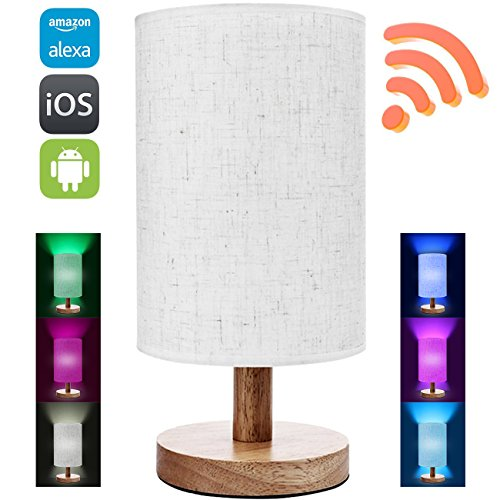Smart Wifi Table Lamps Work With Alexa, Wood Table Lamps For Living Room And Bedroom Dimmable Multicolored Color Changing Party Lights Bulb, Smartphone Controlled Sunrise Wake Up Lights