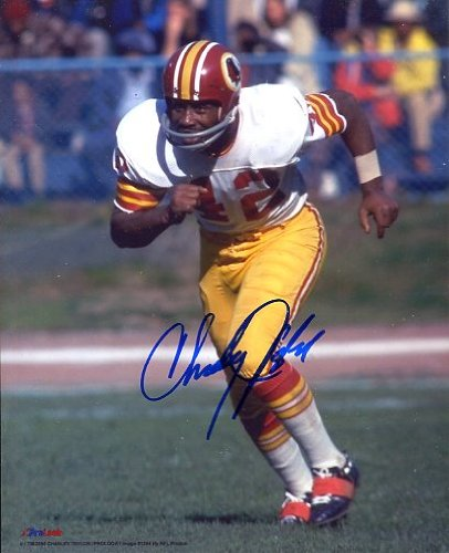 (Charley Taylor (Football Hall of Fame) Autographed/ Original Signed 8x10 Color Action-photo with the Washington Redskins)