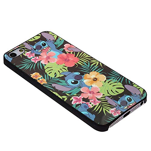 Disney Lilo & Stitch Floral For iPhone Case (iPhone 5/5S black)