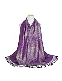 World of Shawls Wedding Party Occasion Self Glitter Shawl Scarf Wrap Hijab
