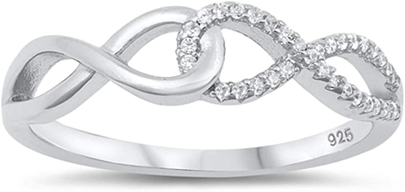 CloseoutWarehouse Sterling Silver Infinity Chain Eternity Ring