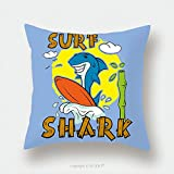 Custom Satin Pillowcase Protector Shark Surfer Print For T Shirt Surfboard Child S Drawing The Cheerful Cartoon Shark 392844538 Pillow Case Covers Decorative