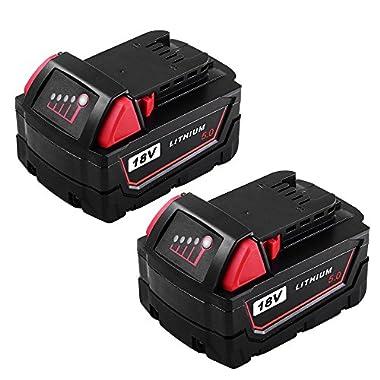 2Packs Replace 18V XC 5000mAh Battery for Milwaukee M18 M18B 48-11-1820 48-11-185048-11-1828 48-11--10 Cordless Power Tools(GERIT BATT)