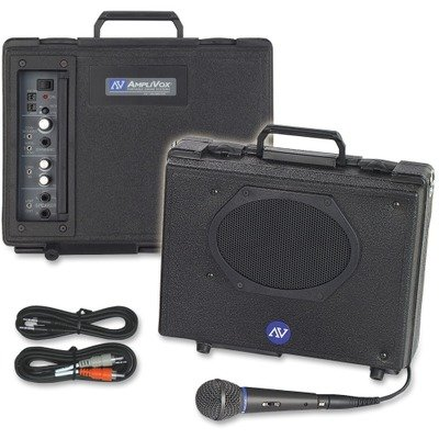 Amplivox Wireless Projector - Amplivox S222 Audio Portable Buddy Professional PA System w/Pro Wired Mic amp;amp; 15-ft. Cable