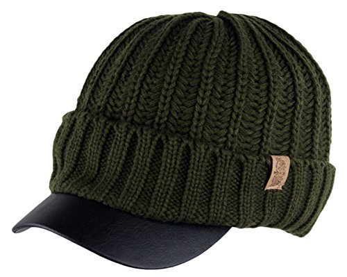 Beanie Visor Olive (Men's Winter Visor Beanie Knitted Hat With Faux Leather Brim (OLIVE))