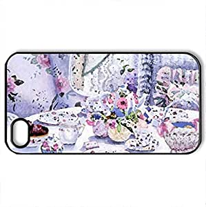 Afternoon Tea - Case Cover for iPhone 4 and 4s (Watercolor style, Black)