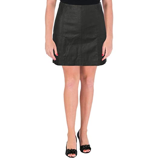 caa103da00 Image Unavailable. Image not available for. Color: Free People Womens  Textured Faux Leather Mini Skirt ...
