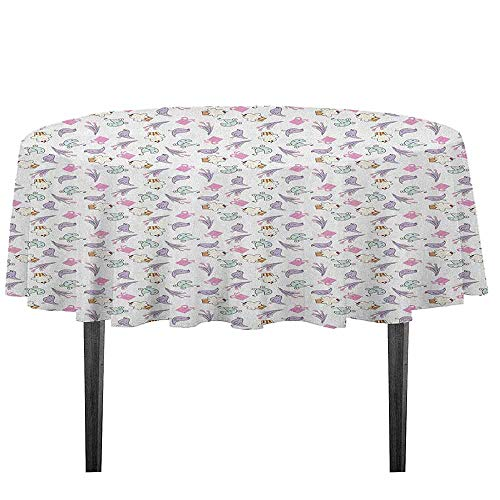 kangkaishi Birthday Washable Tablecloth Sketch Art Style Birds Cupcakes Baby Carriages and Tulip Flowers Newborn Theme Desktop Protection pad D35.4 Inch Multicolor]()