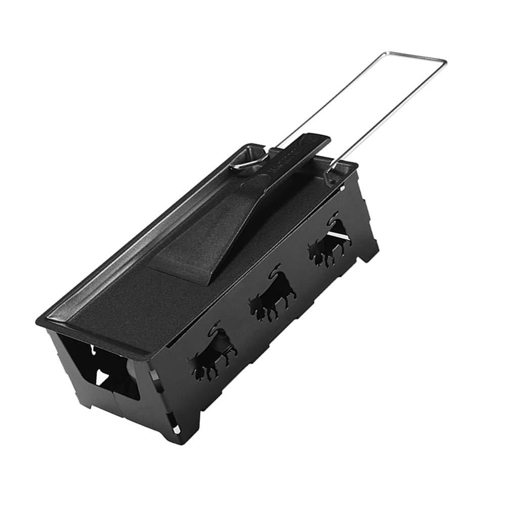 MagiDeal Cheese Oven - Line Handle Set(Grate,Baking Pan,Scraper) Carbon Steel Grill - Black