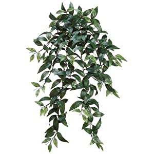 "Floral Home Artificial Ruscus Leaf Hanging Bush - 28"" Long 51"