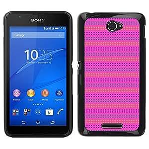 Caucho caso de Shell duro de la cubierta de accesorios de protección BY RAYDREAMMM - Sony Xperia E4 - Pink Purple Pattern Líneas de verano