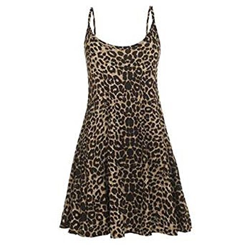 Print Strappy Dress (Girls Walk Women's Strappy Leopard Print Cami Swing)