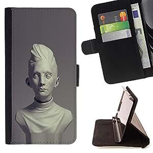 BullDog Case - FOR/Apple Iphone 6 / - / Rome ancient classical era bust marble /- Monedero de cuero de la PU Llevar cubierta de la caja con el ID Credit Card Slots Flip funda de cuer
