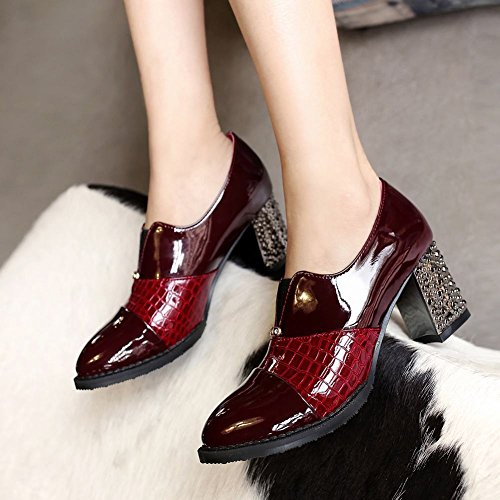 shoes Wine casual patent heel toe womens fashion pointed Carolbar bungee chunky mid Red leather fApPw