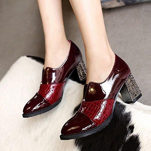 Carolbar Femmes Bout Pointu Bungee Mode En Cuir Verni Chunky Mi-talon Casual Chaussures Vin Rouge