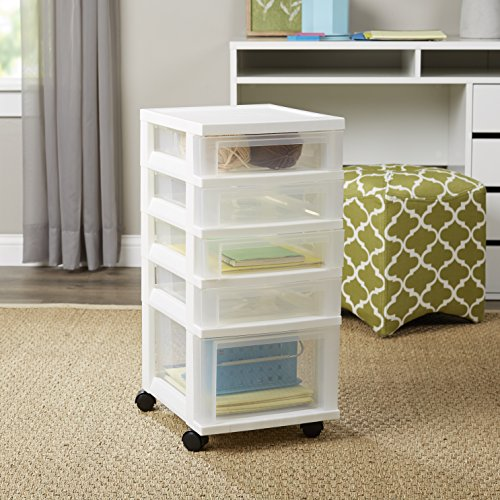 4 Shallow and 1 Deep Drawer Chest Storage Container Organizer Bin with Wheel (Pull Out Truck Bed Tool Box compare prices)