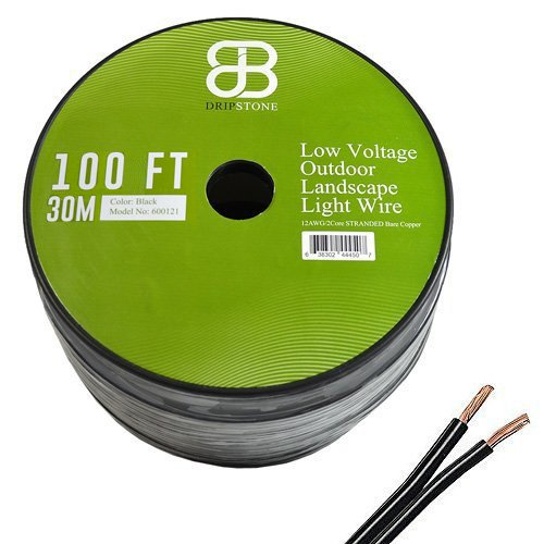 100' Low Voltage Wire (Dripstone Low Voltage 12AWG 2Core Outdoor Light Parallel Flat-Twin Bare COPPER Wire Landscape Lighting Cable 12/2 (100ft))