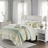Madison Park Willa 6 Piece Quilted Coverlet Set Green King/Cal King