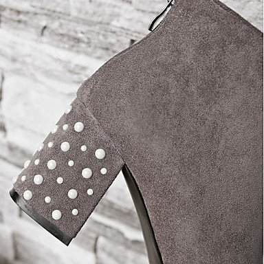 Gris cm black Gros Hiver Printemps Décontracté Noir Confort 7 Imitation amp;xuezi 5 Perle Talon Similicuir à Nouveauté Femme GLL Bottes PUHWqW6