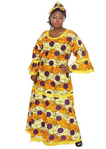 African Inspired Dresses (African Planet Women's Kwanzaa Senegal Inspired Long Maxi Dress with headwrap)
