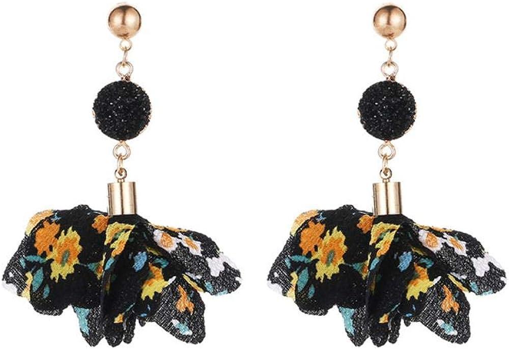 Flyrens Flor De Tela Color Earrings Eólica Nacional Cara Minerales Crystal Chiffon Floral Silvestre Pendientes Earrings