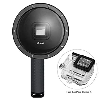 Outtek 6'' Dome Port Lens for Gopro Hero 5, Shoot Waterproof Diving Housing with Transparent Lens Cover + Handheld Floating Bar for Underwater Photography - Black