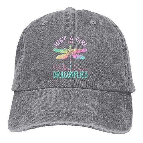 - Comfortable Just A Girl Who Love Dragonfly Denim Men's Low Dad Cap Visor Baseball Hats